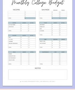 sample simple budget template for college students free pdf budget for college students template excel