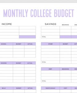 simple budget template for college students free pdf budget for college students template excel