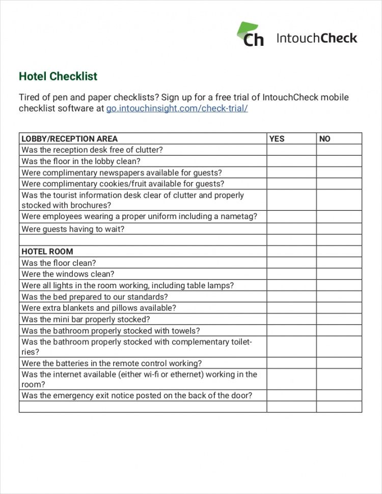 11 hotel checklist examples  pdf word  examples hotel maintenance checklist template excel