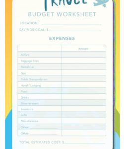 14 travel budget worksheet templates for excel and pdf trip planning budget template sample