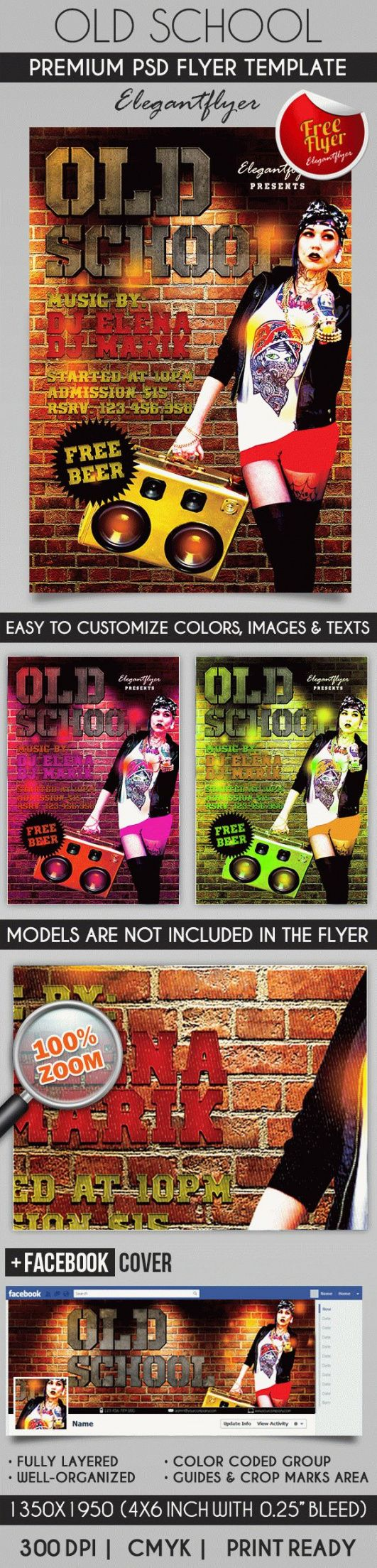 80´s old school  flyer psd template  by elegantflyer old school flyer template