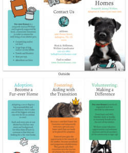 animal rescue tri fold brochure template adopt a pet flyer template pdf