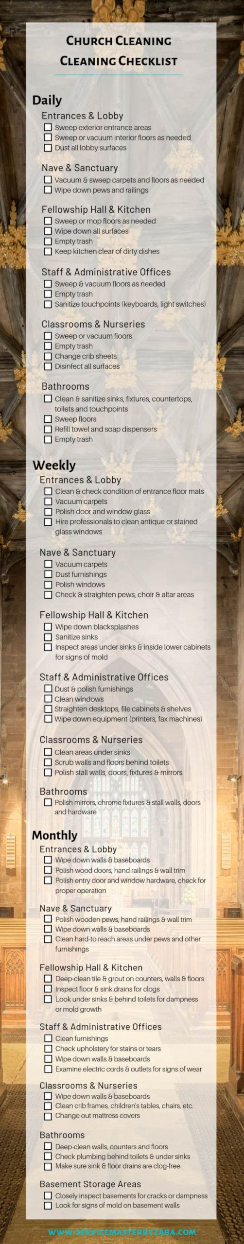 church cleaning checklist daily weekly & monthly church cleaning checklist template pdf