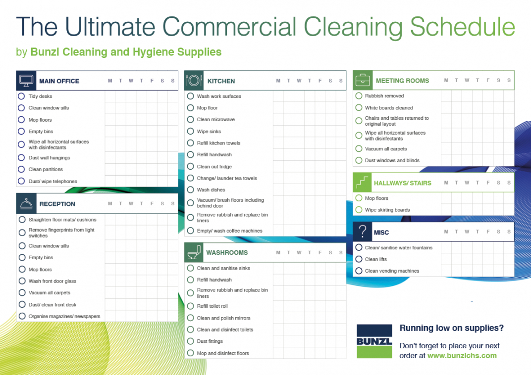 commercial cleaning schedule template  bunzl cleaning commercial cleaning checklist template examples