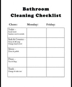 editable 6 toilet cleaning checklist templates  word excel fomats bathroom cleaning checklist template examples