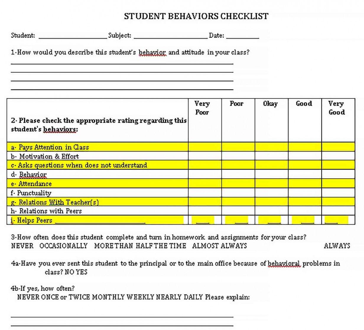 editable behavior checklist template  welding rodeo designer student behavior checklist template samples
