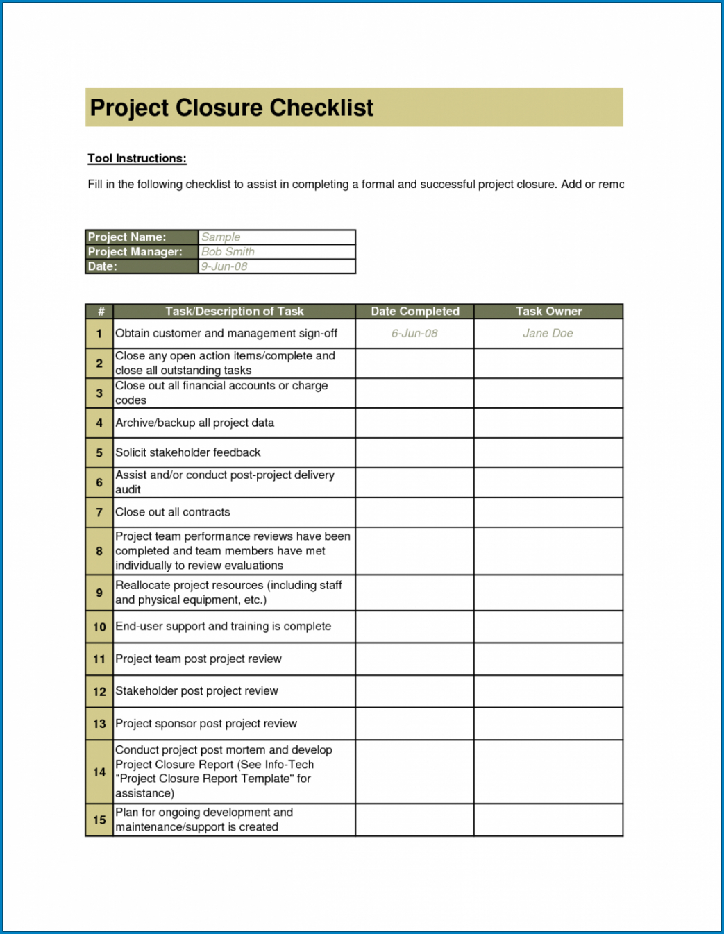 editable √ free printable project closeout checklist template project closeout checklist template examples