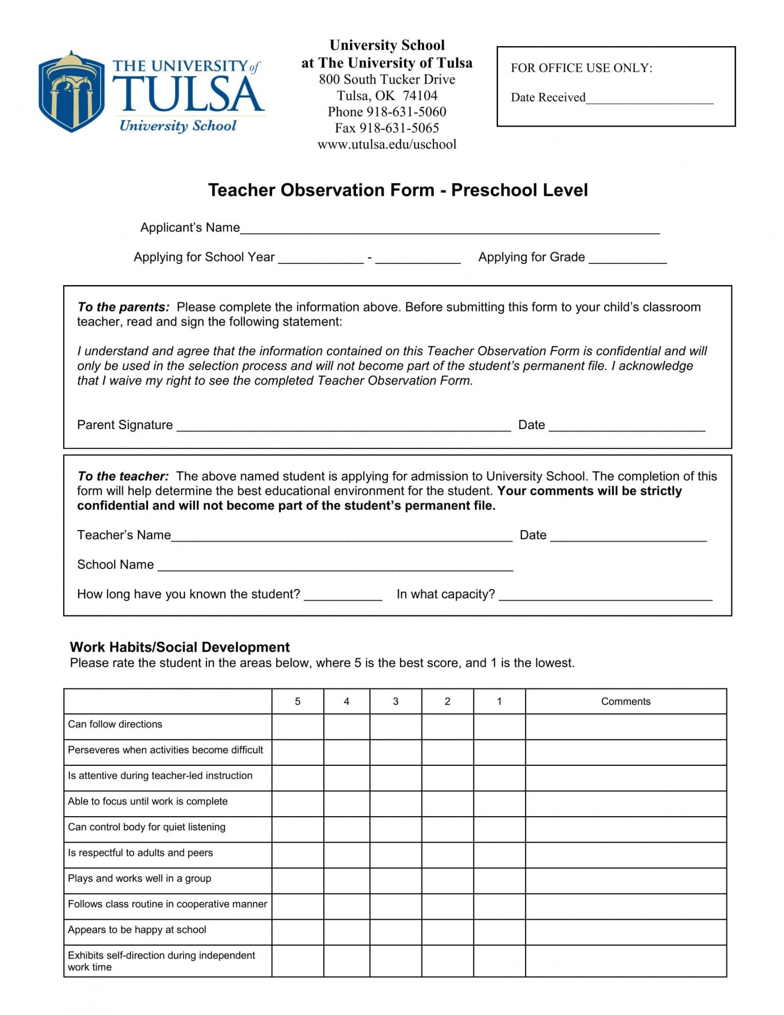 editable free 3 preschool observation forms in pdf  ms word observation checklist template doc