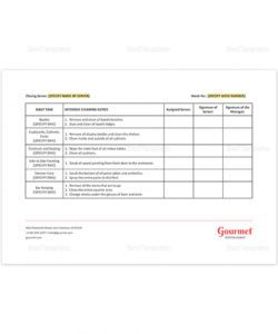 editable restaurant server sidework checklist template in ms word pages restaurant side work checklist template excel
