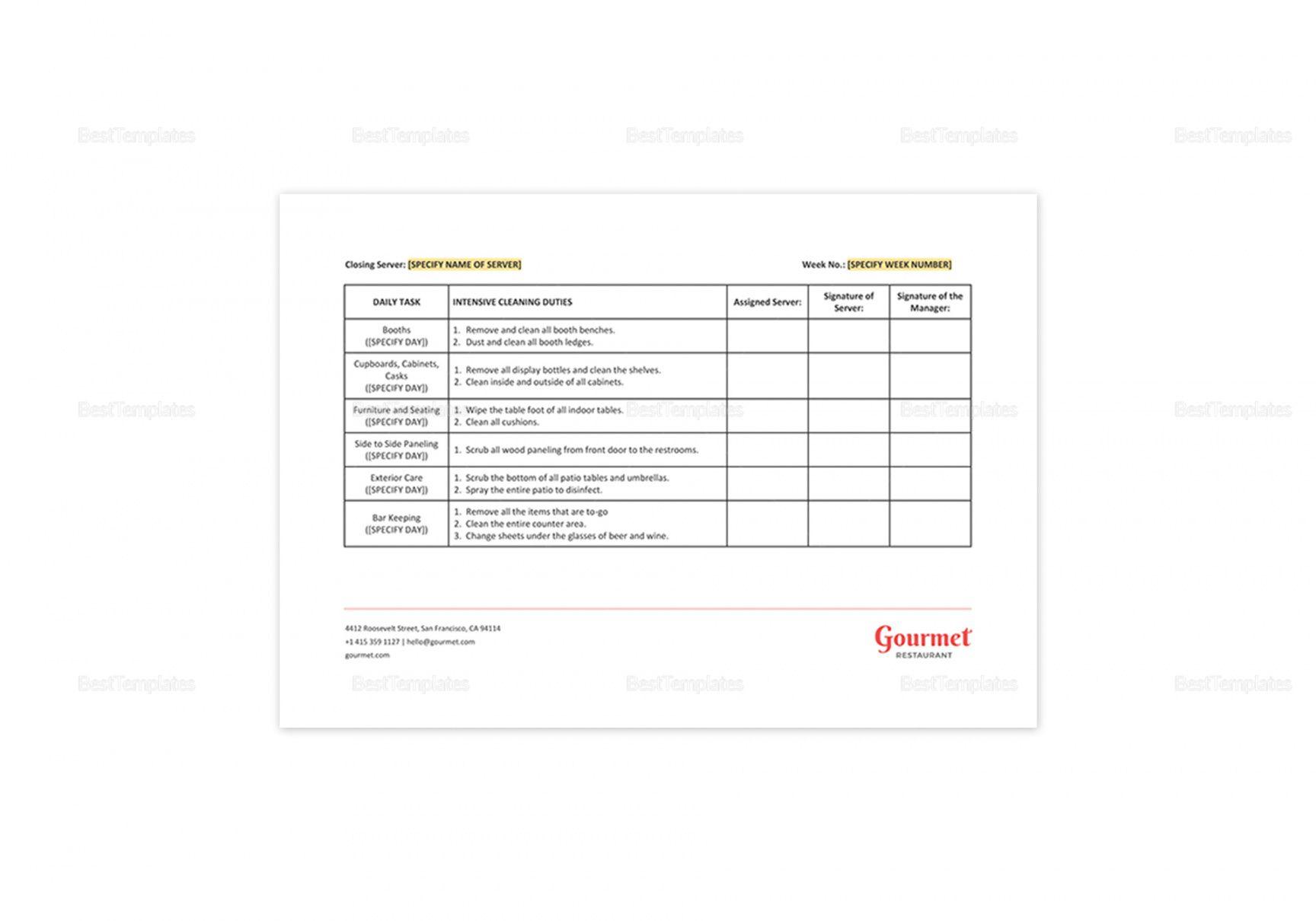 editable restaurant server sidework checklist template in ms word pages restaurant side work checklist template excel