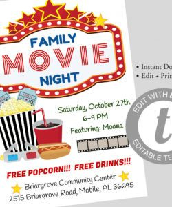 family movie night flyer editable template movie night flyer instant  download schoolpta church movie party flyer pto fundraiser flyer church movie night flyer template and sample
