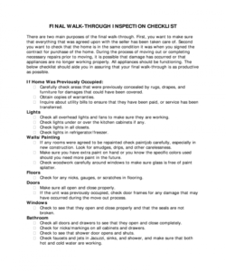 final walk through form  fill online printable fillable final walk through checklist template