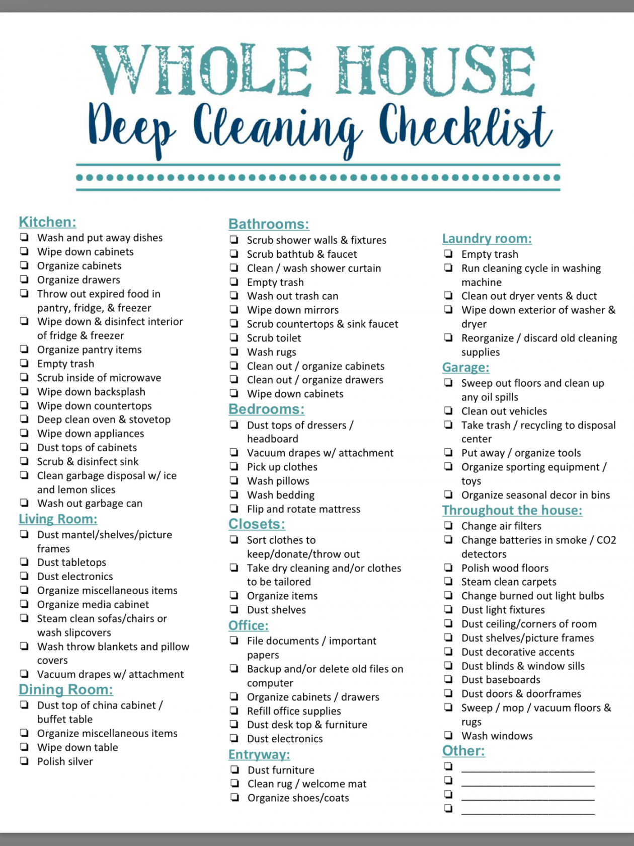 free 40 helpful house cleaning checklists for you  kittybabylove deep cleaning checklist template doc