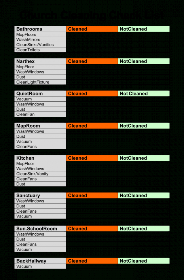 free 6 best church cleaning checklist printable  printablee church cleaning checklist template pdf