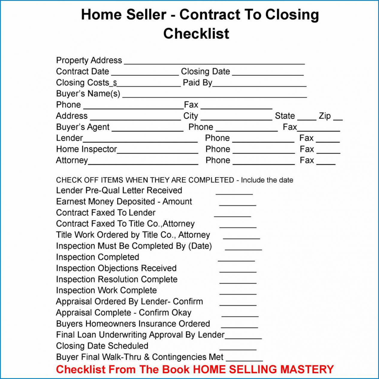 free ✓ free real estate closing checklist template  zitemplate real estate closing checklist template excel
