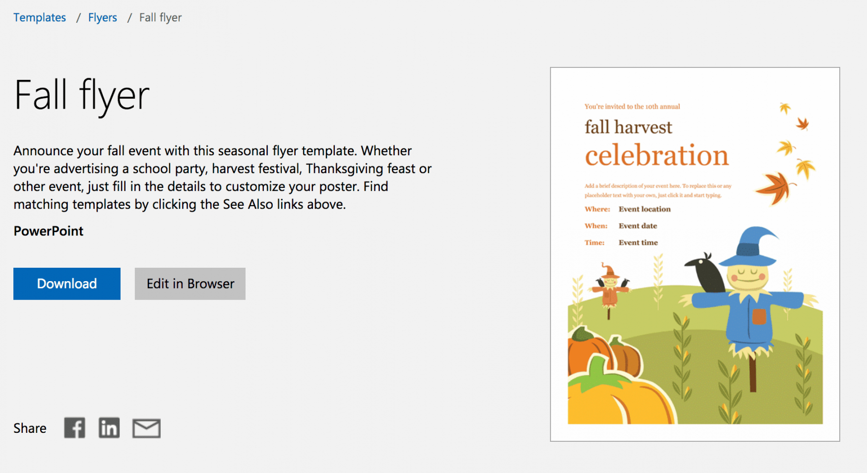 free free autumn theme templates for microsoft office fall event flyer template pdf