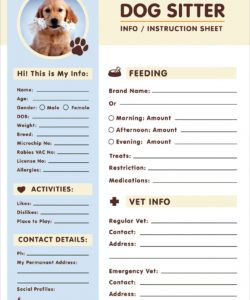 free free dog sitter instruction  information sheet design pet sitter checklist template excel