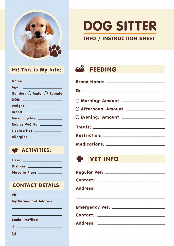 free free dog sitter instruction  information sheet design pet sitter checklist template excel