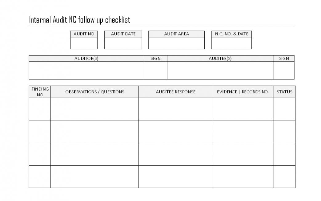 free internal audit followup checklist  finding procedures internal controls checklist template examples