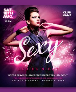 free ladies night party flyer template by hotpin on dribbble service industry night flyer template