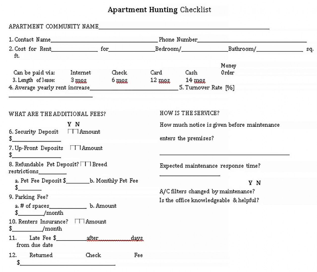 free new apartment checklist  welding rodeo designer apartment hunting checklist template