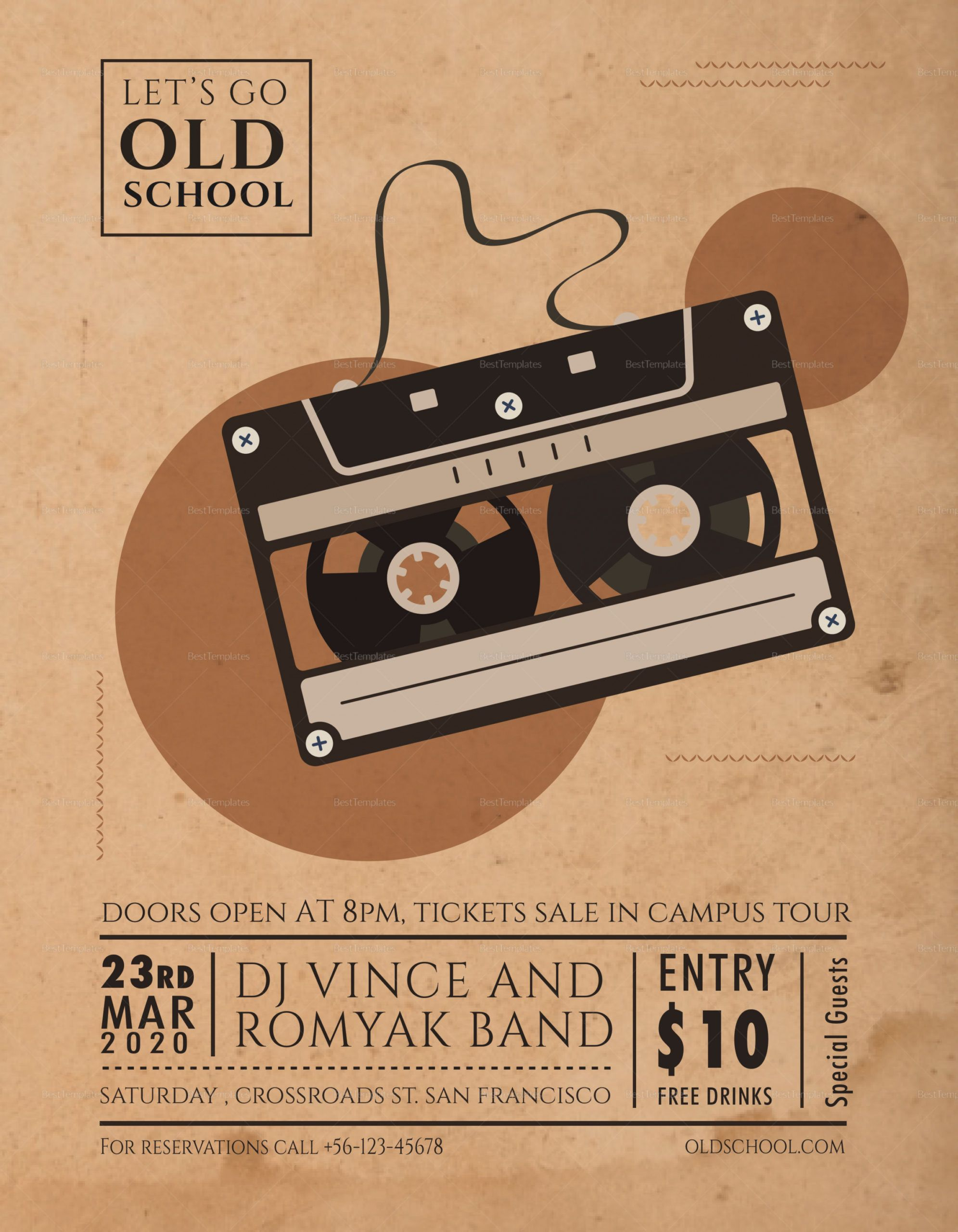 free old school music flyer design template in psd word old school flyer template doc
