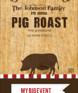 free pig roast vip pass bull roast flyer template