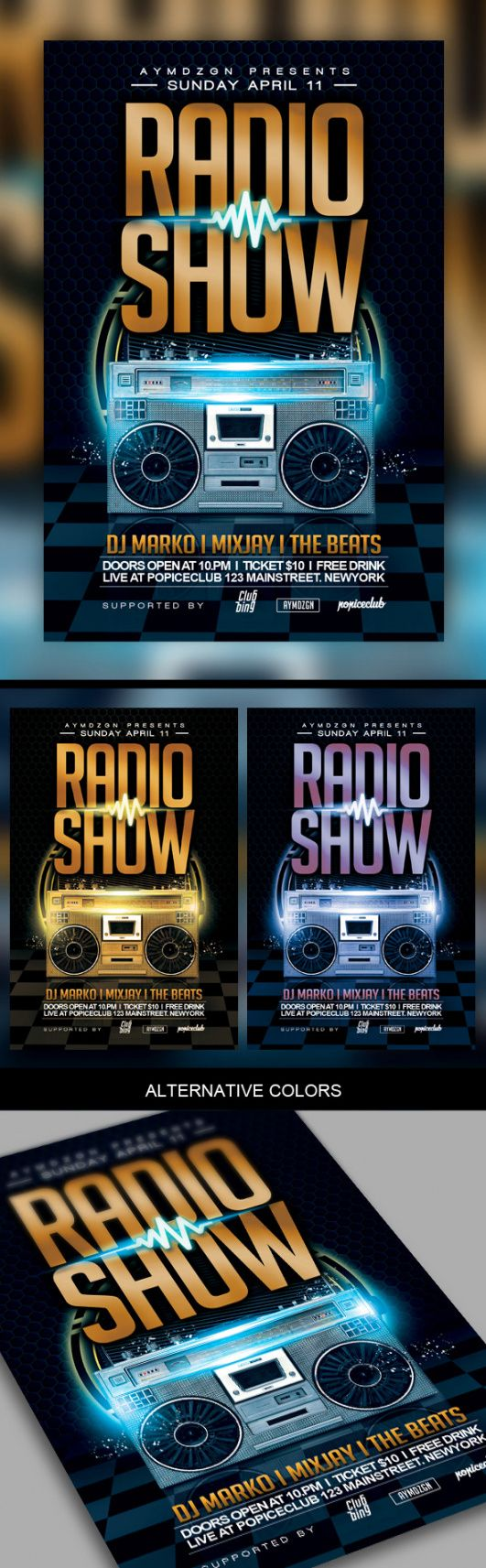 free radio show flyer template on behance radio show flyer template