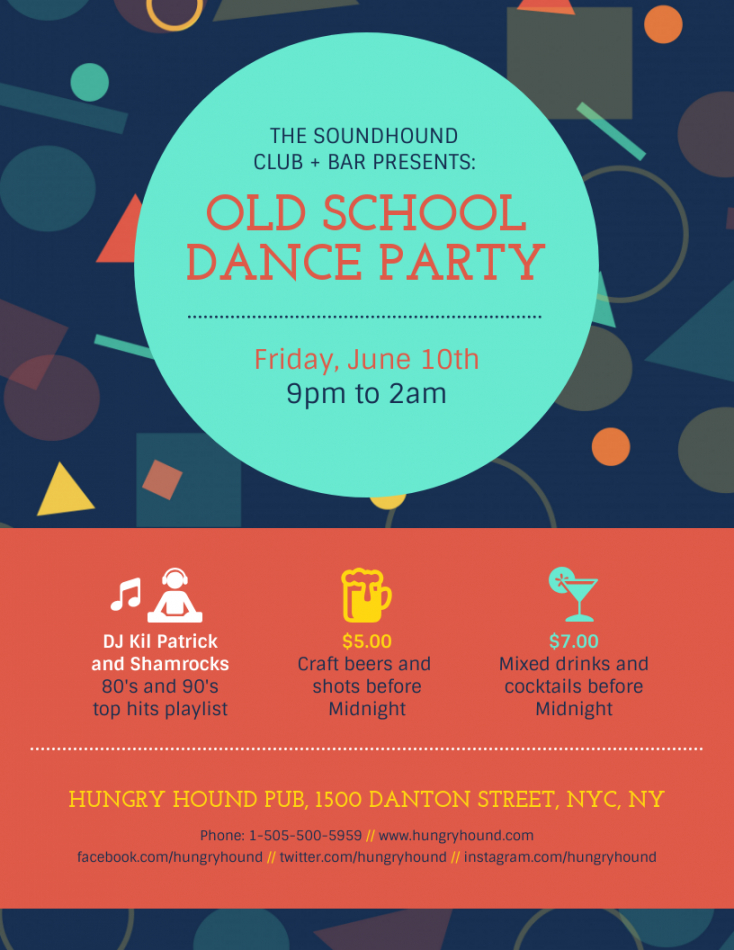 free retro old school party event flyer template old school flyer template pdf