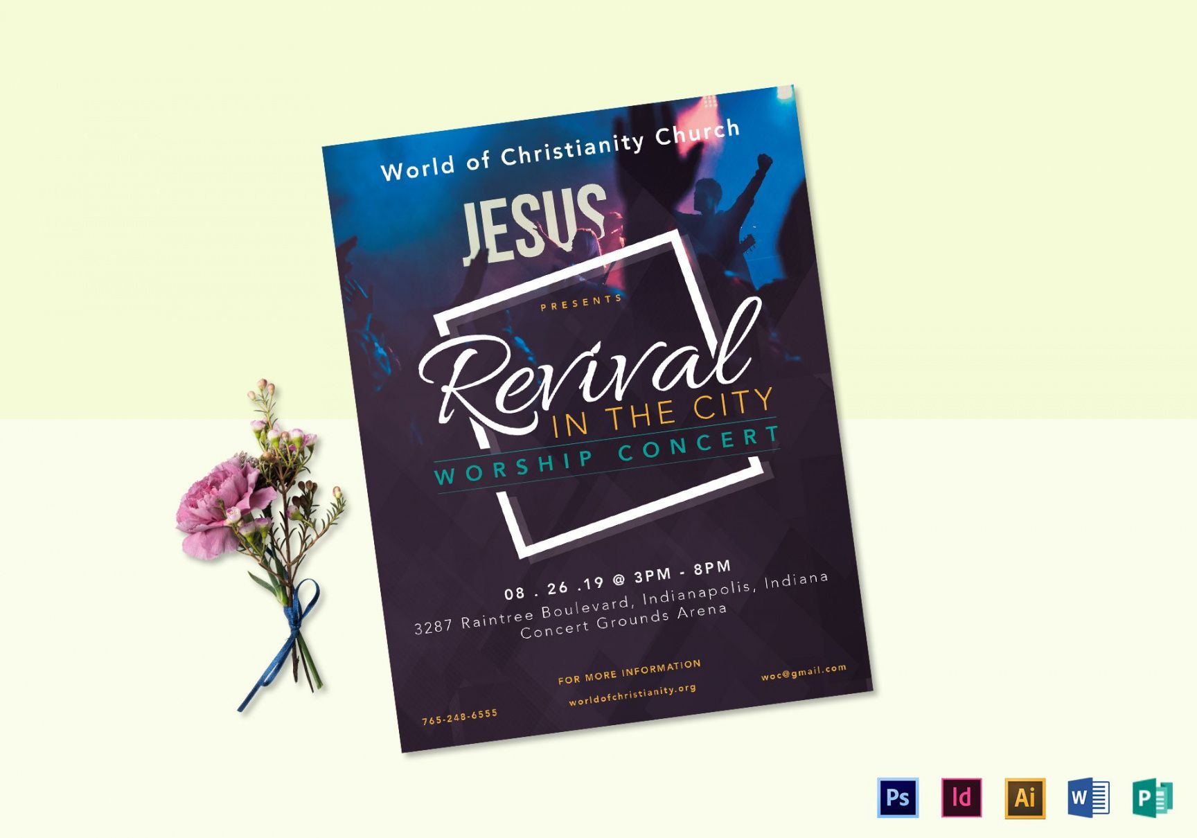 free revival worship concert flyer design template in psd word church revival flyer template and sample