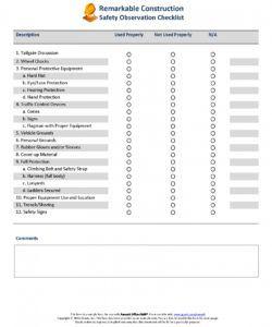 free safety observation checklist · remark software observation checklist template