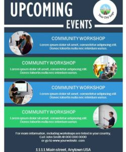 free upcoming events flyer template  state of the city presentations community event flyer template doc