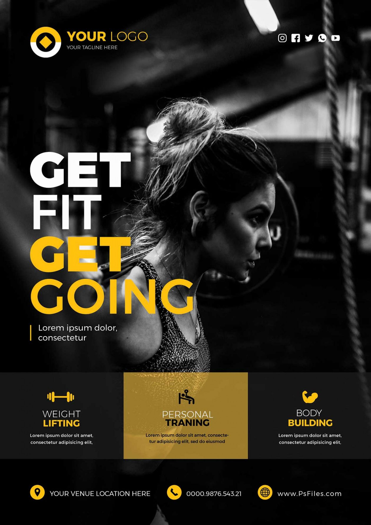 health fitness club free psd flyer templates  stockpsd fitness center flyer template doc