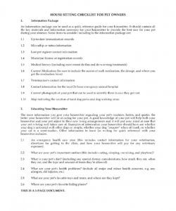 house sitter checklist template  zoroblaszczakco pet sitter checklist template