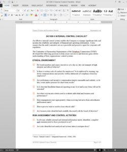 internal control checklist template  ac10203 internal controls checklist template excel