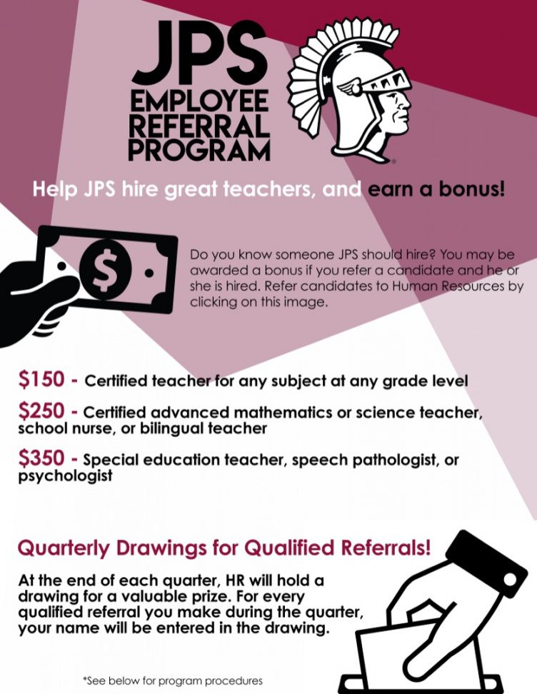 jenks public schools  jps employee referral program referral bonus flyer template