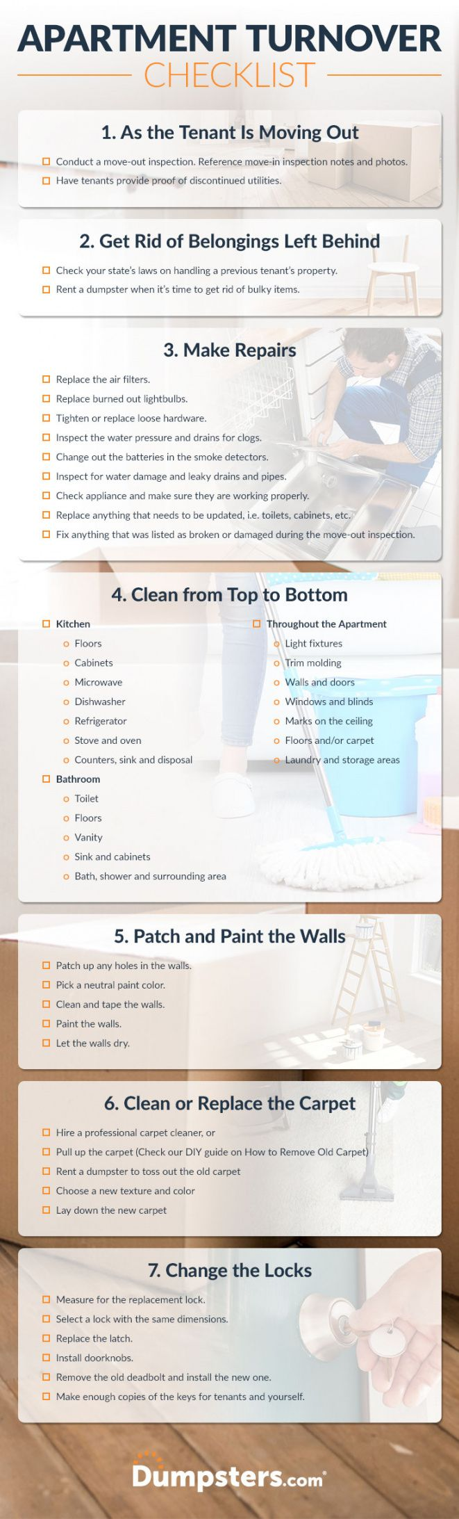 printable a landlord apartment turnover cleaning checklist  dumpsters apartment turnover checklist template