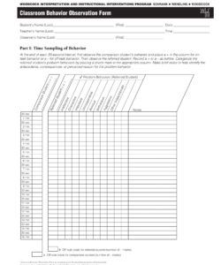 printable free 4 behavior observation forms in pdf  ms word student behavior checklist template doc