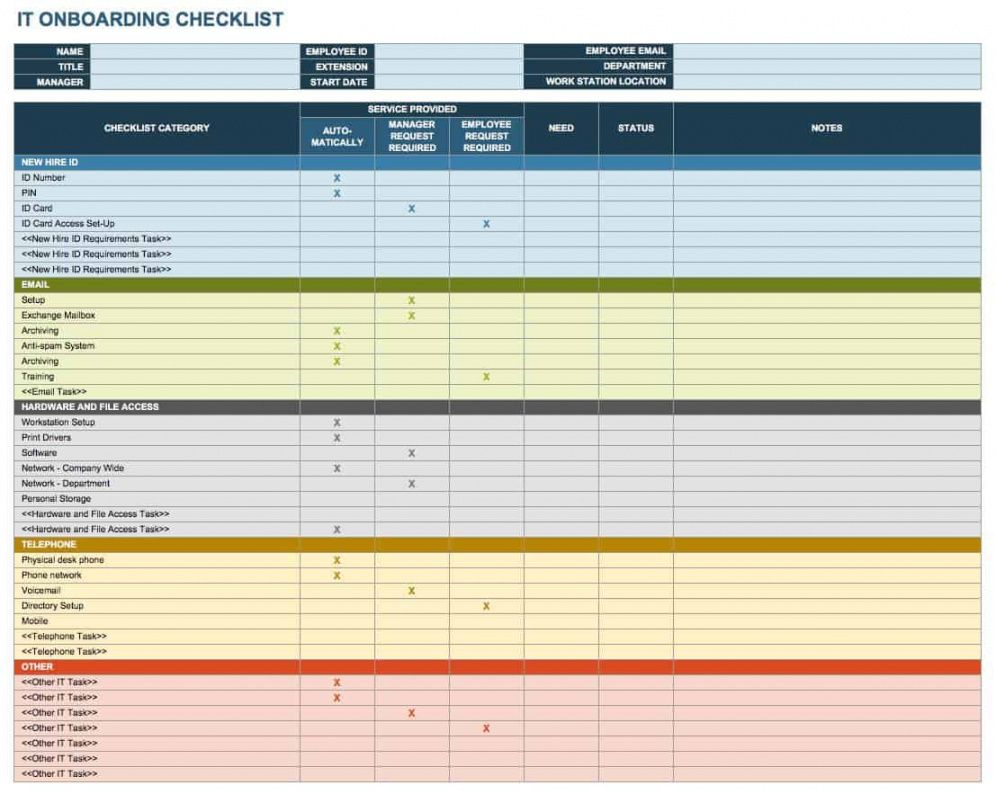 printable free onboarding checklists and templates  smartsheet new employee onboarding checklist template