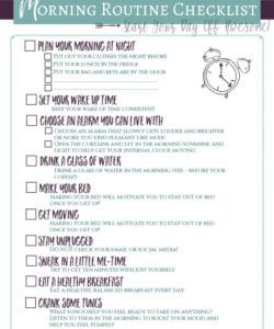 printable start the day awesome morning routine checklist for adults morning routine checklist template