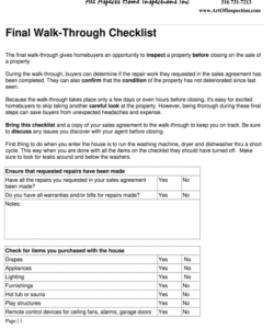 printable walk thru form  fill online printable fillable blank final walk through checklist template samples