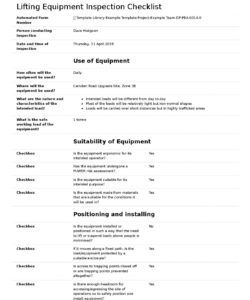 template  lifting gear inspection checklist for better equipment inspection checklist template pdf
