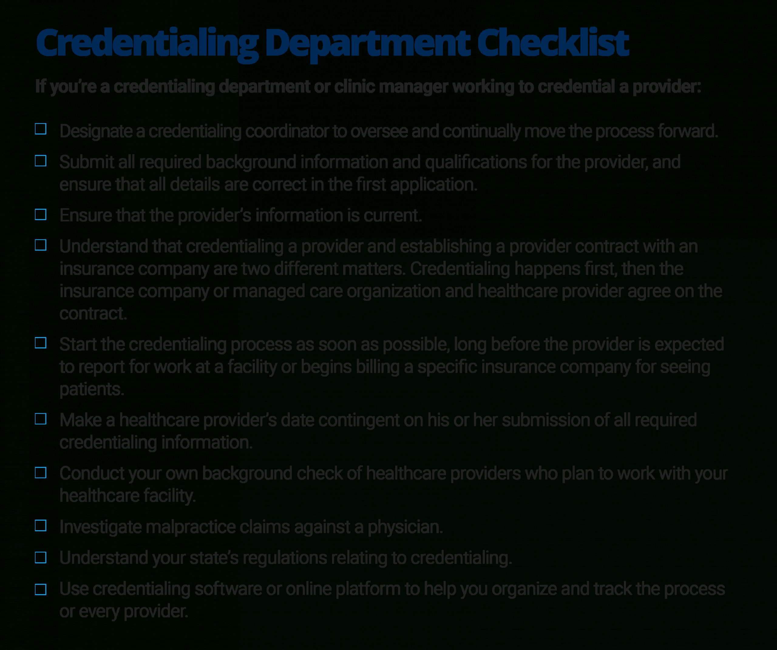 the quick guide to healthcare provider credentialing credentialing checklist template