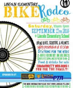 2016 lincoln bike rodeo is coming!  lincoln elementary pta bike rodeo flyer template pdf