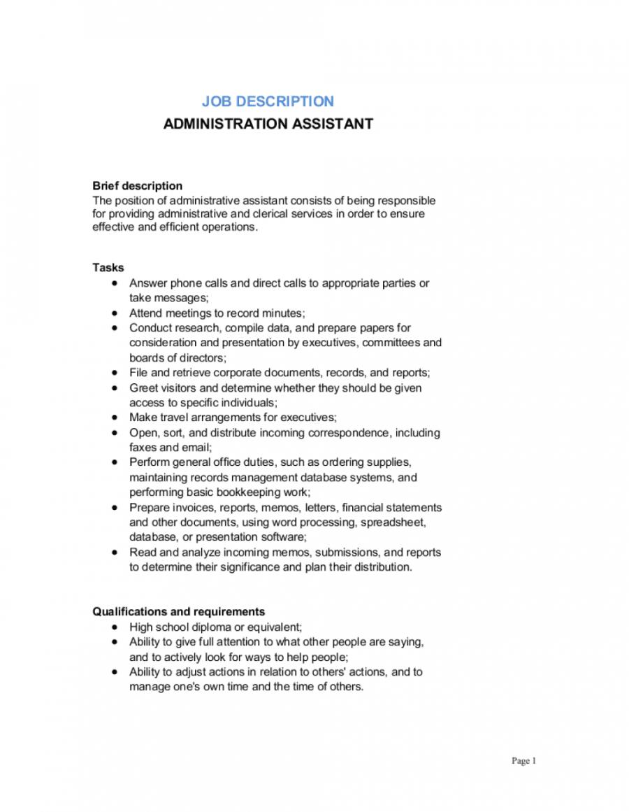 administrative assistant job description template  by executive assistant job description template doc