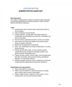 administrative assistant job description template  by office assistant job description template and sample