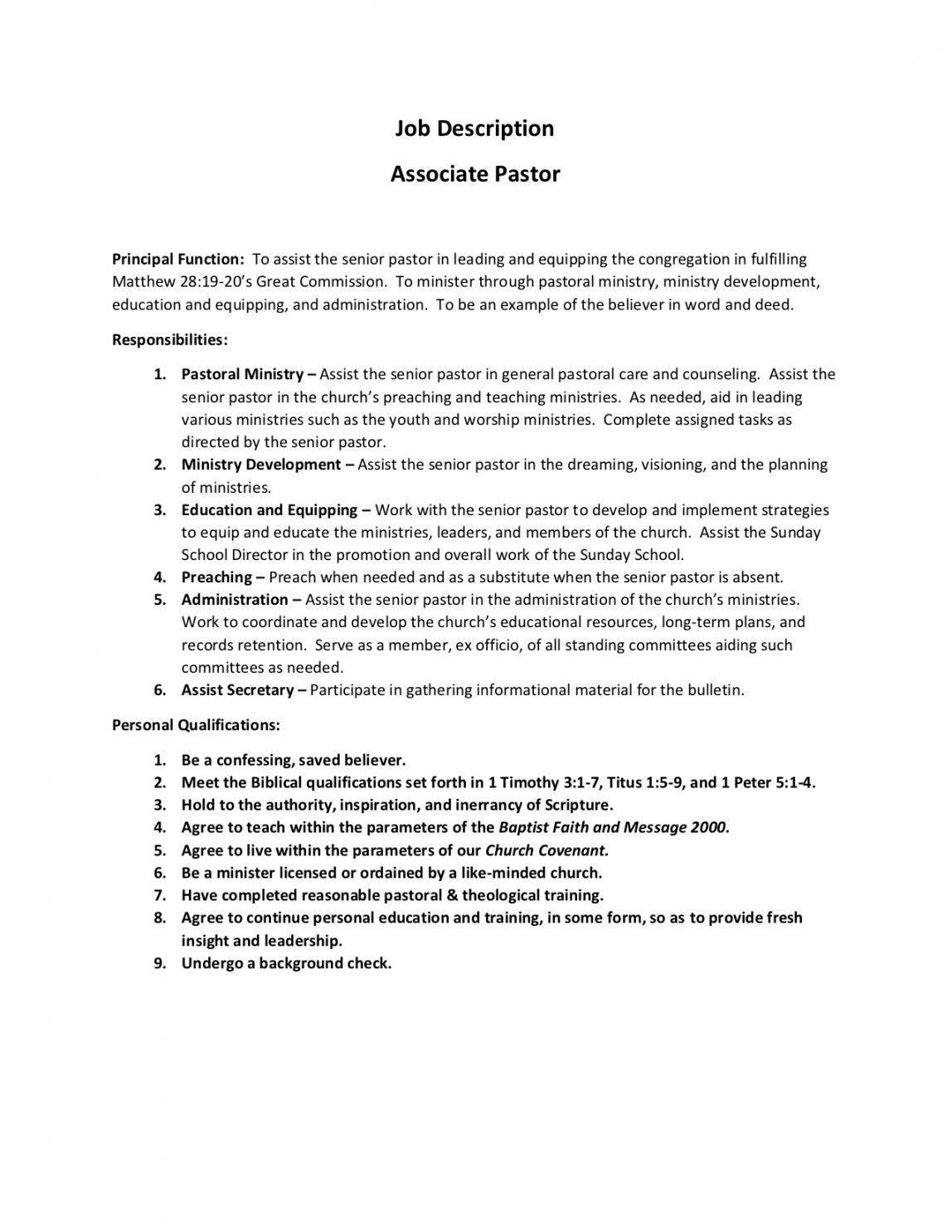 associate pastor job description 2019  central kentucky pastor job description template and sample