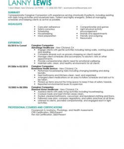 best caregivers companions resume example  livecareer caregiver job description template pdf