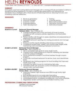 best restaurant manager resume example  livecareer restaurant manager job description template