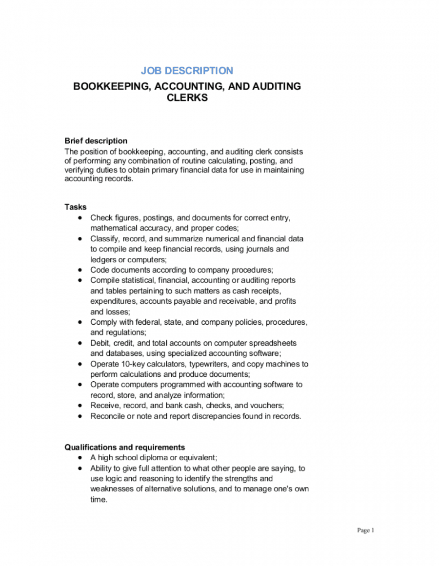 Bookkeeping Accounting And Auditing Clerk Job Description ...